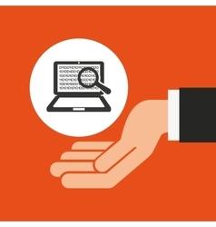 Hands businessman data laptop binary search vector