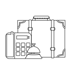 Hotel and travel black and white vector