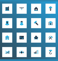 Industrial icons colored set with screw foreman vector
