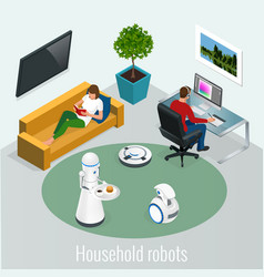 isometric robots housework and technology concept vector image