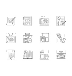 Linear icons set for media publishing vector