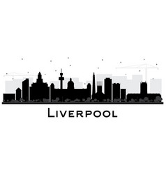 liverpool city skyline silhouette with black vector image