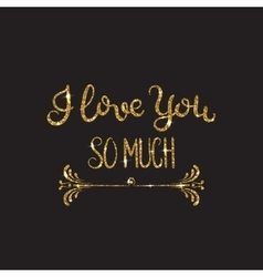 Love text Romantic lettering with glitter Golden vector