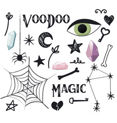 Magic simple set voodoo potion design vector
