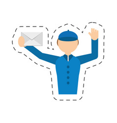 man post mail envelope courier vector image