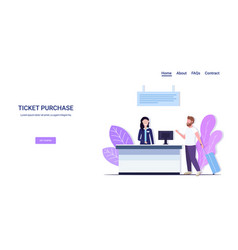 man traveler with luggage standing at counter vector image