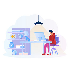 Man working in pcworking from home concept illust vector