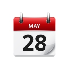 May 28 flat daily calendar icon Date and vector