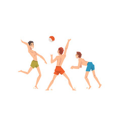 Men dressed in shorts playing beach volleyball vector