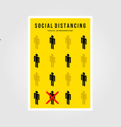 Minimalist social distancing flat icon poster vector