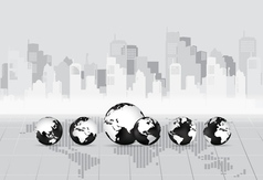 Modern globe with building background vector image