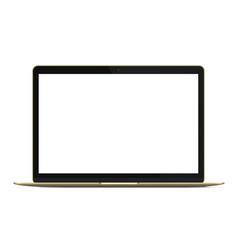 Modern rich golden ultrabook notebook laptop vector