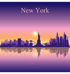 New York city skyline silhouette background vector image