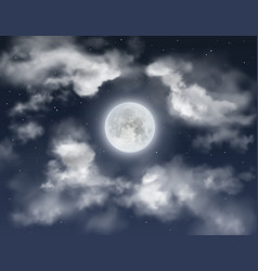 Night sky background with full moon and clouds vector
