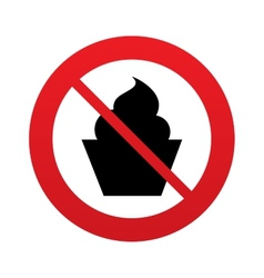 No Muffin food sign icon Sweet cake symbol vector