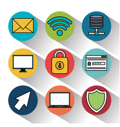 online security set icons vector image