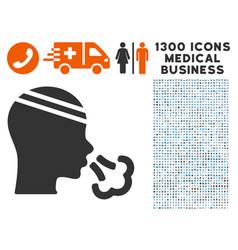Patient sneeze icon with 1300 medical business vector