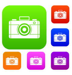 photo camera set collection vector image