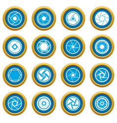 photo diaphragm icons blue circle set vector image