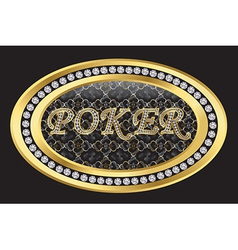 Poker gold sign with diamonds vector image