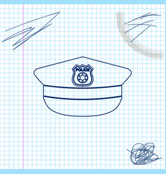 Police cap with cockade line sketch icon isolated vector