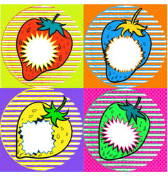 Pop art strawberry with speech bubbles vector
