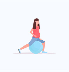 Pregnant woman doing exercises with gymnastic ball vector
