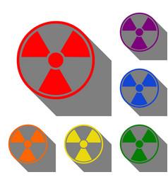 radiation round sign set of red orange yellow vector image