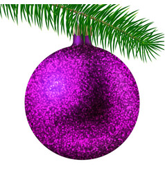 realistic pink christmas ball or bauble with vector image
