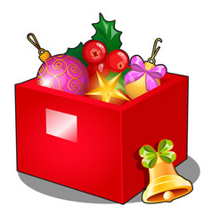 red box with christmas decorations and baubles vector image