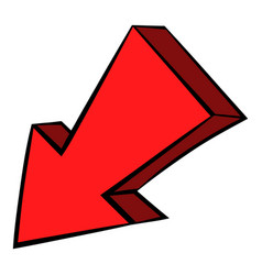 red left down arrow icon icon cartoon vector image