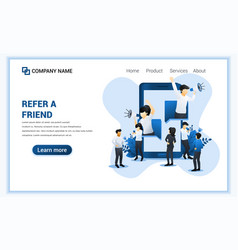 refer a friend concept with a man and woman come vector image