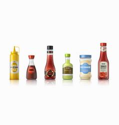 sauce bottles ketchup mayonnaise and mustard vector image