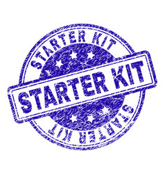 Scratched textured starter kit stamp seal vector