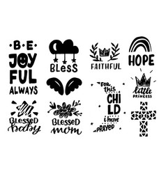 Set 10 christian hand lettering baby icons vector