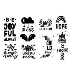 set 10 christian hand lettering baicons vector image