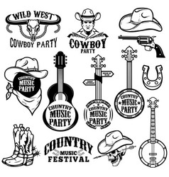 Set country music festival emblems and design vector