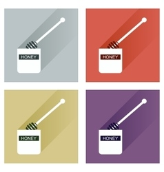 Set flat icons with long shadow jar of vector
