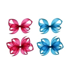 Set of Colored Bright Pink Light Blue Gift Bows vector
