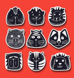 Set of cute doodle cats Character sketch cat vector image vector image