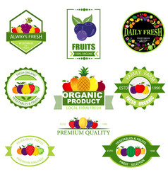 set of fruit and vegetables logo vector image