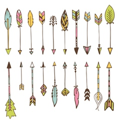 Set of hand drawn arrows doodles design elements vector image