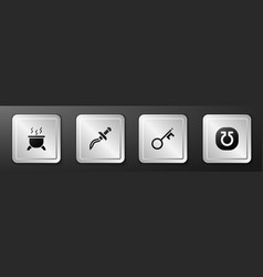 Set witch cauldron dagger old key and life icon vector