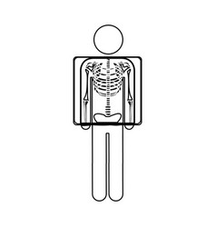 Silhouette pictogram patient and radiography vector
