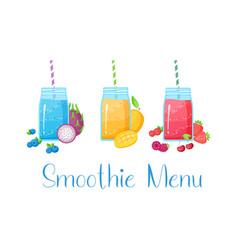 Smoothie fruit cocktail flat set vector