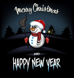 Snowman with broom and sparklers vector