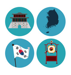 south korea round icons vector image