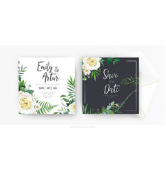 stylish floral watercolor wedding invite card vector image
