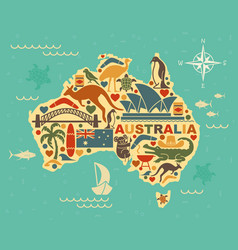 Stylized map of australia with the symbols of vector