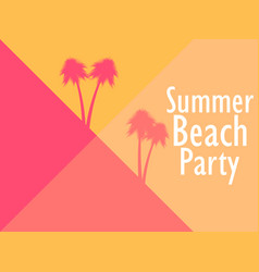 summer beach party geometric background with palm vector image